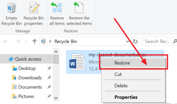 restore for recovering your deleted word document